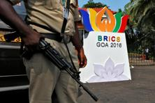 A securityman stands guard outside one of the venues of Brics (Brazil, Russia, India, China and South Africa) summit, in Goa. Photo: Reuters