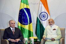 Prime Minister Narendra Modi with the Brazil's President Michel Temer during a bilateral meeting in Goa on Sunday. Photo: PTI