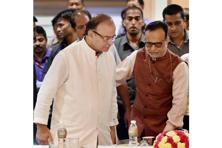 Finance minister Arun Jaitley and revenue secretary Hasmukh Adhia at the ongoing GST council meeting. Photo: PTI