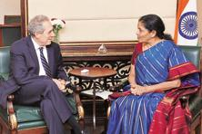 Commerce minister Nirmala Sitharaman with US Trade Representative Michael Froman in New Delhi on Thursday. Photo: PTI