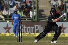 New Zealand's captain Kane Williamson plays a shot during the ODI between India and New Zealand at the Ferozshah Kotla in New Delhi on 20 October. Photo: AFP
