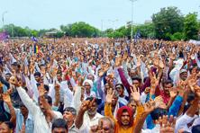 People of Dalit community gathered from all over Gujarat for the Convention to protest against the attack on Dalit men in Una, in Ahmedabad in Gujarat, on 31 July. Photo: Siddharaj Solanki/Hindustan Times