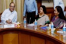 Union finance minister Arun Jaitley launched the SMS alert service for TDS deduction for salaried class on Monday. Photo: PTI