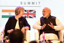 Britain's Prime Minister Theresa May and India's Prime Minister Narendra Modi at The India-UK Tech Summit in New Delhi on Monday. Photo: AFP
