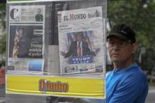Colombian newspapers report the victory of US presidential candidate Donald Trump on their front pages, in Medellin, Colombia, on Wednesday. Photo: AFP