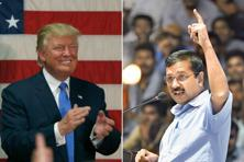 US president-elect Donald Trump (left) and Delhi chief minister Arvind Kejriwal. Photographs by Getty Images/AFP and Raj K. Raj/Hindustan Times