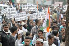 The Congress party workers during their Jan Aakrosh Rally against demonetisation in Moradabad on Monday. Photo: PTI