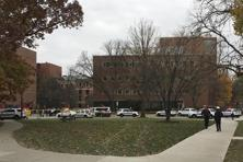 Police respond to reports of an active shooter on campus at Ohio State University on Monday in Columbus, Ohio. Photo: AP