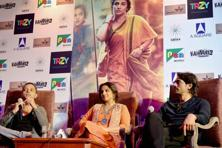 (From left to right) Sujoy Ghosh, Vidya Balan and Arjun Rampal during the promotion of 'Kahaani 2: Durga Rani Singh' in New Delhi on Tuesday. Photo: PTI