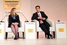Alyssa Ayres (left), senior fellow for India, Pakistan and South Asia, Council on Foreign Relations, and Daniel Twining, director and senior fellow, Asia Program, the German Marshall Fund of the United States speaking at the HT Summit on Saturday. Photo: Ramesh Pathania/ Mint