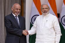 A file photo of Prime Minister Narendra Modi with Afghan President Mohammad Ashraf Ghani (left) in New Delhi in April 2015. Photo: AP