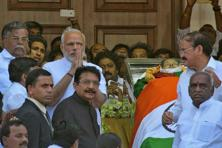 Prime Minister Narendra Modi gestures after paying homage to the body of J. Jayalalithaa, who died on Monday, in Chennai. Photo: Reuters