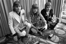 Greg Lake (left), Keith Emerson, and Carl Palmer (right) in 1972 in London. Photo: AP