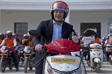 Uber CEO Travis Kalanick launched UberMOTO, the start-up's bike taxi service in Hyderabad on Tuesday. Photo: AP