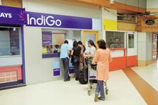 Gurgaon-based budget carrier IndiGo continues its domination in the domestic market, having flown 37.73 lakh passengers during the month and cornered 42.1% market share in this period. Photo: Hemant Mishra/ Mint