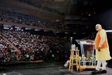 A file photo of Prime Minister Narendra Modi addressing audience at the Madison Square Garden in New York. Photo: PTI
