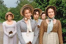 The Bennet sisters in BBC's 1995 series: (from left, foreground) Susannah Harker (Jane), Jennifer Ehle (Elizabeth), and (background) Julia Sawalha (Lydia), Lucy Briers (Mary), and Polly Maberly (Kitty).