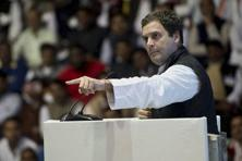 Congress vice-president Rahul Gandhi addresses at the party's Jan Vedna Sammelan at Talkatora Stadium in New Delhi on Wednesday. Photo: PTI