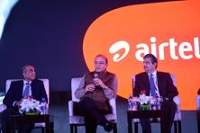 (From left) Bharti Enterprises chairman Sunil Bharti Mittal, finance minister Arun Jaitley and Kotak Mahindra Bank executive vice-chairman Uday Kotak at the launch of the payments bank on Friday. Photo: Pradeep Gaur/ Mint
