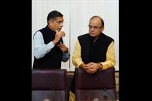 Finance minister Arun Jaitley (right) and chief economic adviser Arvind Subramanian. Photo: PTI