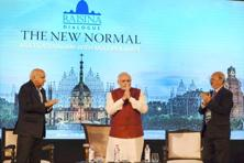 PM Narendra Modi with MoS for external affairs MJ Akbar and ORF director Sunjoy Joshi at the opening session of the second Raisina Dialogue in New Delhi 17 January 2017. Photo: PTI
