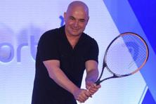 Tennis legend Andre Agassi during the unveiling of India Value Fund Advisors new brand identity in Mumbai on Wednesday. Photo: PTI