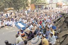 Locals gather at the funeral of one of the victims of Tuesday's clashes in Bhangar on Thursday. Photo: Indranil Bhoumik/Mint