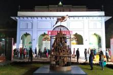 Subodh Gupta's work 'Who ate up the forests' on display at the Jaipur Literature Festival. Photo: Priyanka Parasher/ Mint