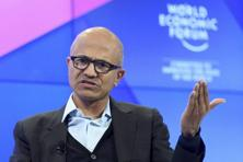 Microsoft CEO Satya Nadella speaks during a panel session at the World Economic Forum, WEF, in Davos, Switzerland. Photo: AP
