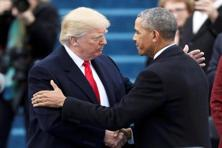 President Barack Obama greets President-elect Donald Trump at inauguration ceremonies swearing in Donald Trump. Photo: Reuters
