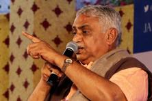 RSS leader Manmohan Vaidya at the Jaipur Literature Festival at Diggi Palace in Jaipur on Friday. Photo: PTI