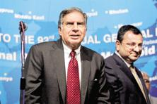 A file photo of Ratan Tata (left) and Cyrus Mistry. Photo: PTI