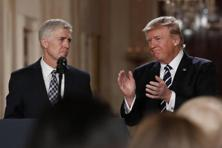 US President Donald Trump applauds Judge Neil Gorsuch after announcing him as nominee for the Supreme Court in Washington on Tuesday. Photo: AP
