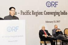 Minister of state for home affairs Kiren Rijiju at a conference on India-Japan convergences, in New Delhi on Monday. Photo: PTI