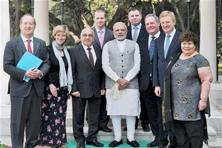 Prime Minister Narendra Modi with an eight-member delegation of British parliamentarians in New Delhi on Tuesday. Photo: PTI