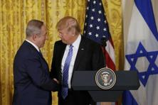 US President Donald Trump greets Israeli Prime Minister Benjamin Netanyahu at a joint news conference at the White House in Washington. Photo: Reuters