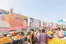Party hoardings at Kalyanpur, which goes to polls on Sunday. Photo: Ramesh Pathania/Mint