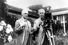 A file photo of innovator George Eastman (left) and inventor Thomas Edison. Photo: AP