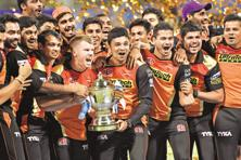 Sunrisers Hyderabad team with the IPL trophy after the final match with Royal Challengers Bangalore at M. Chinnaswamy Stadium at Bengaluru last May. Photo: Hindustan Times)