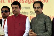 Maharashtra CM Devendra Fadnavis (left) along with Shiv Sena president Uddhav Thackeray in Mumbai. The two NDA allies are pitted against each other in the ongoing Brihanmumbai Municipal Corporation polls on Tuesday. Photo: PTI