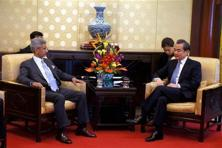 Foreign secretary, S. Jaishankar with Chinese foreign minister Wang Yi in Beijing. Photo: PTI