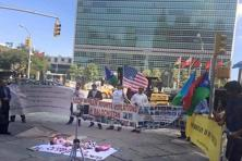 A file photo. Free Balochistan Movement members holding a protest against Pakistan outside the UN headquarters in New York . Photo: PTI