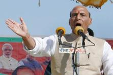 Union home minister Rajnath Singh at a election rally in Uttar Pradesh's Lalganj on Thursday. Photo: PTI