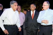 Natarajan Chandrasekaran (centre), chairman of Tata Sons and Ratan Tata (left), former chairman of Tata Sons at the inaugural ceremony of 178th Founders' Day of Tata Steel Limited in Jamshedpur on Thursday. Photo: PTI