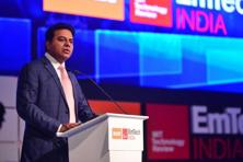 Addressing industry executives at Emtech India 2017, K.T. Rama Rao, information technology minister of Telangana, on Thursday emphasized on digital infrastructure and digital literacy as the major aspects of creating a digital ecosystem. Photo: Pradeep Gaur/Mint