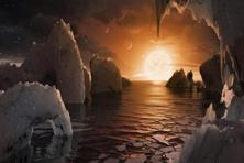 This image provided by Nasa/JPL-Caltech shows an artist's conception of what the surface of the exoplanet TRAPPIST-1f may look like, based on available data about its diameter, mass and distances from the host star.