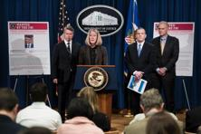 A press conference to announce criminal charges against three Russians for the 2014 hacking of Yahoo at the US Department of Justice on 15 March 2017 in Washington, DC. Photo: Brendan Smialowski/AFP