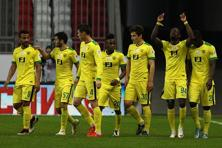 Players of FC Anzhi Makhachkala celebrate after scoring a goal during the Russian Premier League match in Kazan, Russia. File photo: Epsilon/Getty Images