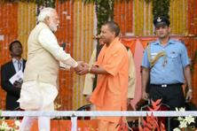 Prime Minister Narendra Modi, left, attended the swearing-in ceremony of Yogi Adityanath in Lucknow. Photo: PTI