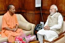 Prime Minister Narendra Modi with chief minister of Uttar Pradesh Yogi Adityanath during their meeting in New Delhi on Tuesday. Photo: PTI